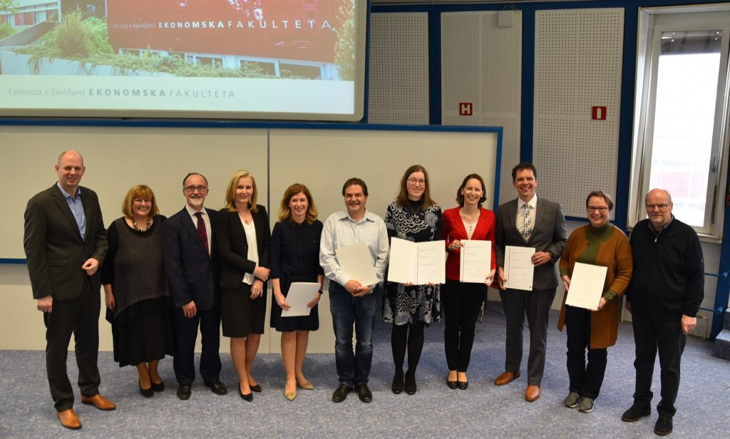 EOCCS Director Keith Pond at awards ceremony with Metka Tekavčič (Dean), Tanja Mihalič (Vice Dean for Academic Affairs) and SEB UL award winners.